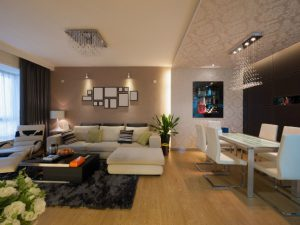 5-room HDB interior design - Living Room and Dining Area
